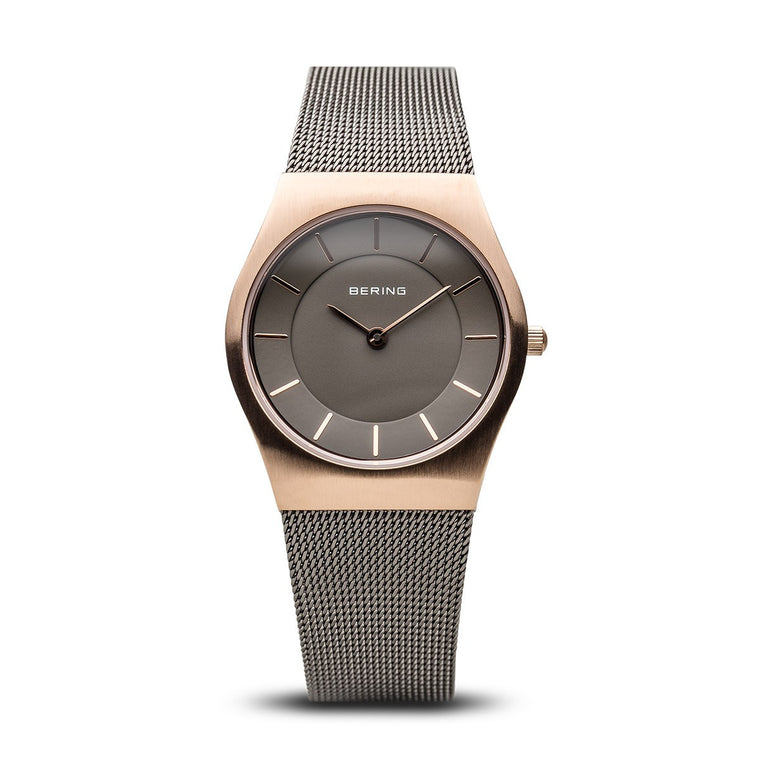 Bering Womens Classic Brushed Rose Gold Watch 11930-369