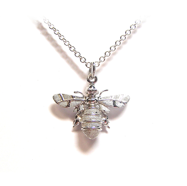 Silver Mini Bumble Bee Pendant