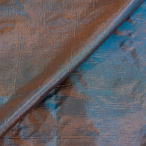 Plain Silk Sky Blue To Rust Two Tone Fabric