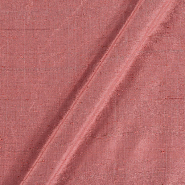 95 gm Pure Handloom Raw Silk Coral Colour 43 Inches Gold Fabric