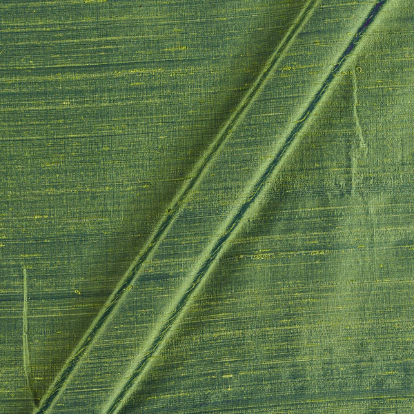 95gm Pure Handloom Raw Silk Parrot Green Two Tone Fabric