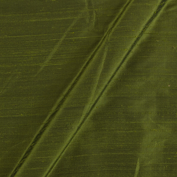 95gm Pure Handloom Raw Silk Mehendi Green Colour  Fabric