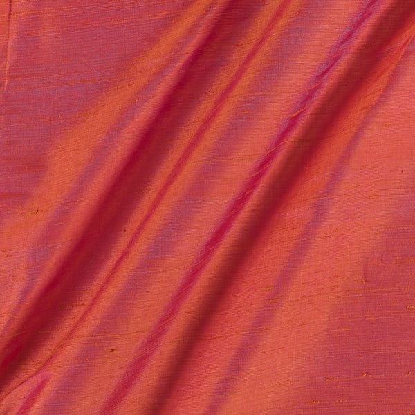 95gm Pure Handloom Raw Silk Orange Two Tone Colour  Fabric