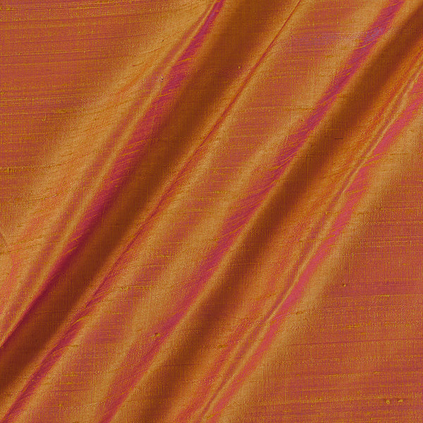 95gm Pure Handloom Raw Silk Yellow Two Tone Colour  Fabric