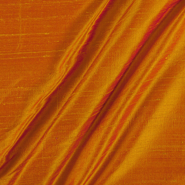 95 gm Pure Handloom Raw Silk Golden Orange to Pink Two Tone Fabric
