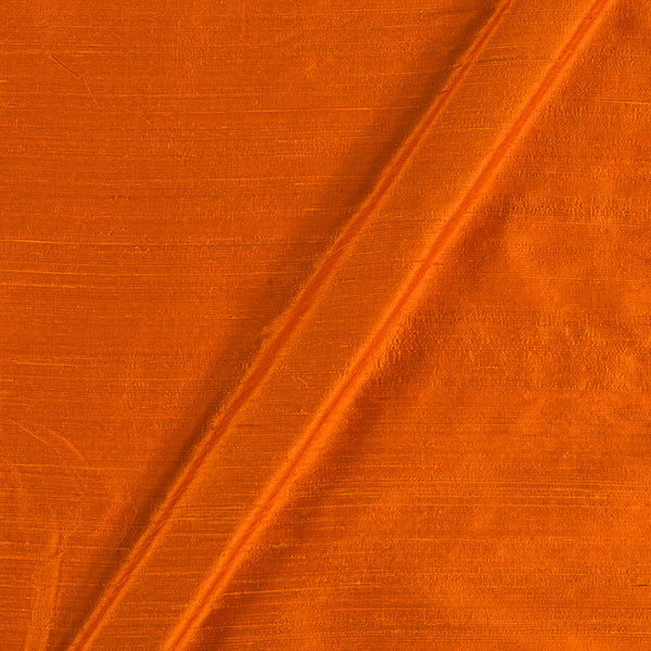 95 gm Pure Handloom Raw Silk Tangerine Orange Colour Fabric