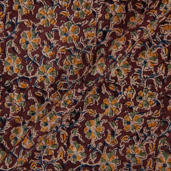 Cotton Brown Colour 45 inches Width Natural Kalamkari Fabric