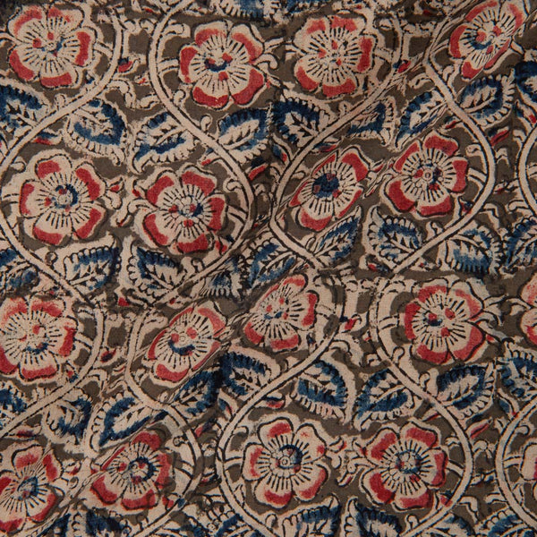 Cotton Moss Green Colour 45 inches Width Natural Kalamkari Fabric