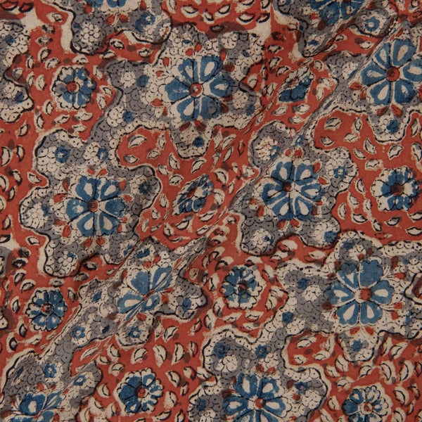 Cotton Brick Colour 45 inches Width Natural Kalamkari Fabric
