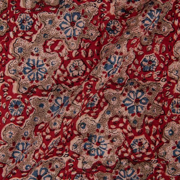 Cotton Red Colour 45 inches Width Natural Kalamkari Fabric