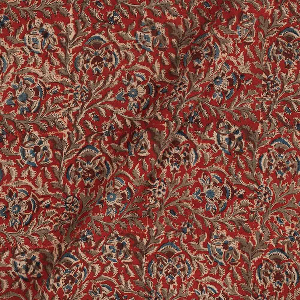 Cotton Red Colour Natural Kalamkari Fabric