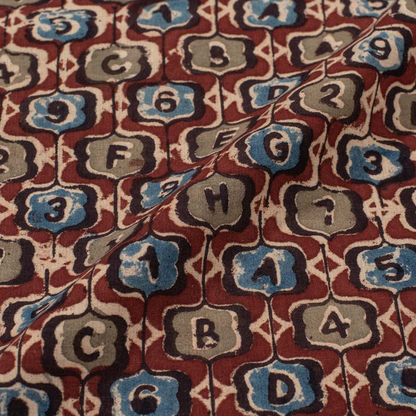 Cotton Maroon Colour Natural Kalamkari Fabric