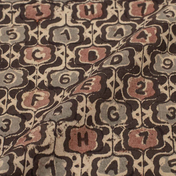 Cotton Dark Brown Colour Natural Kalamkari Fabric