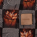 Coffee Brown Colour Floral Print Kota Checks Type Poly Cotton Fabric