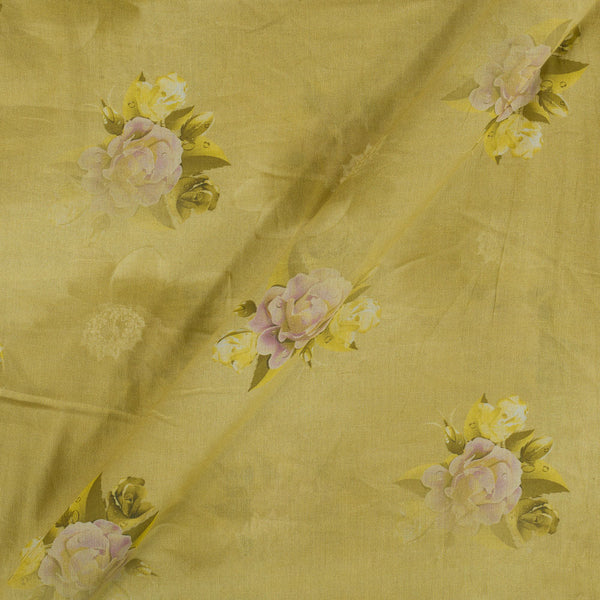 Cotton Mal Pale Yellow Colour Floral Print  Fabric