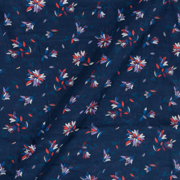Cotton Mal [80 x 120] Midnight Blue Colour 43 inches Width Floral Print Fabric