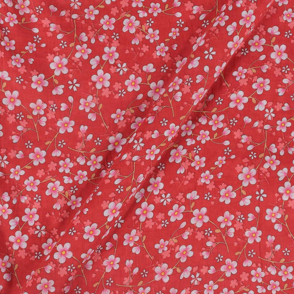 Cotton Mal [80 x 120] Poppy Red Colour 43 inches Width Floral Print Fabric