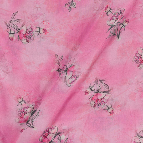Cotton Mal [80 x 120] Pink Colour 43 Inches Width Floral Print Fabric