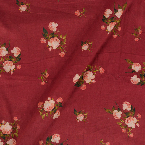Mal Cotton Maroon Colour Floral Print  Fabric