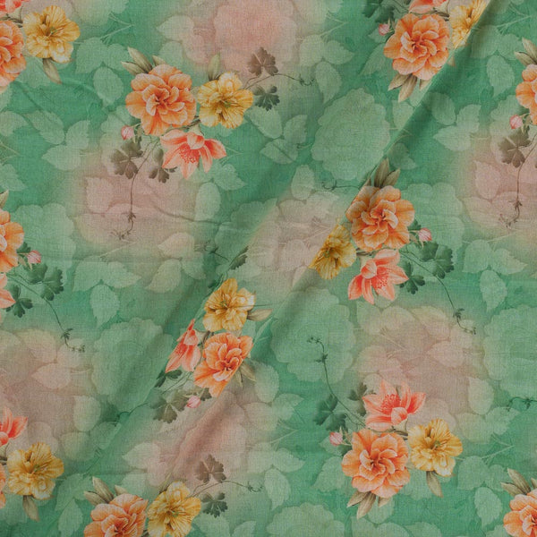 Cotton Mal Light Green Colour Floral Print  Fabric