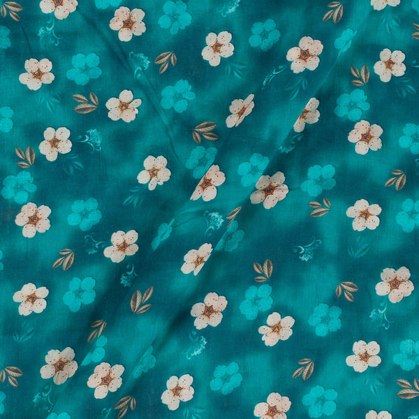 Mal Cotton Teal Blue  Colour  41 Inches Width Floral Print  Fabric