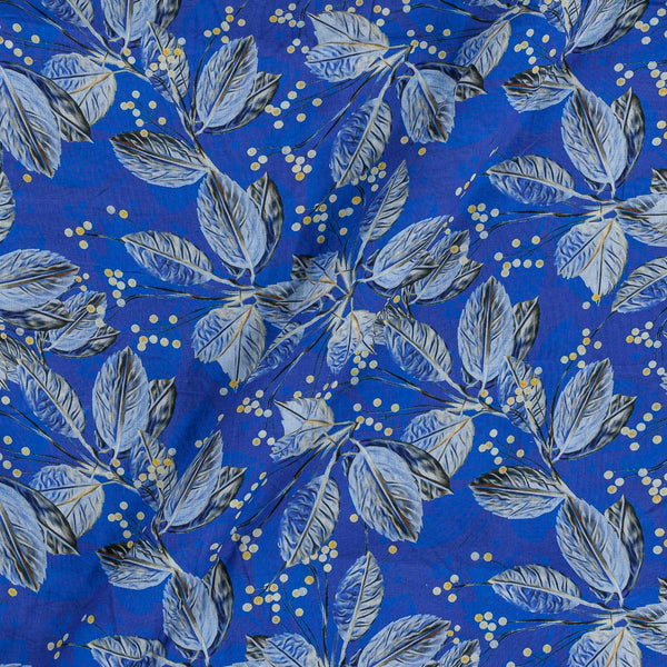Cotton Mal [80 x 120] Blue Colour 43 Inches Width Floral Print Fabric