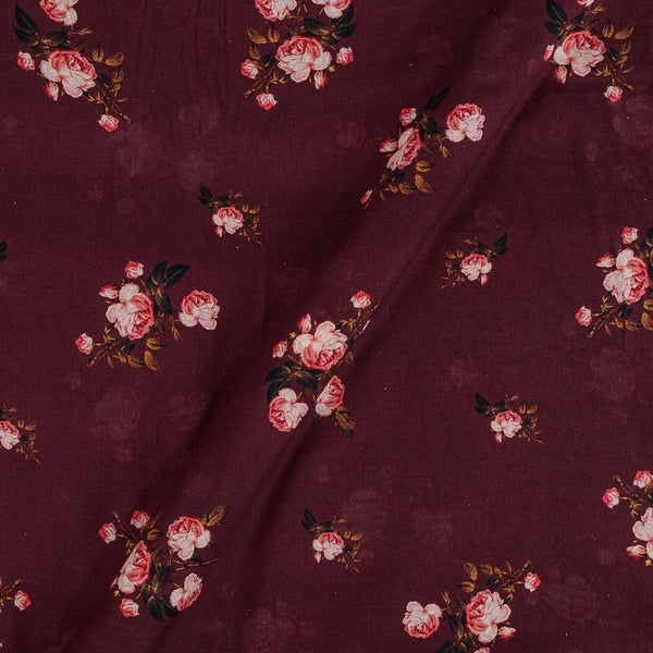Cotton Mal [80 x 120] Plum Colour 43 inches Width Floral Print Fabric