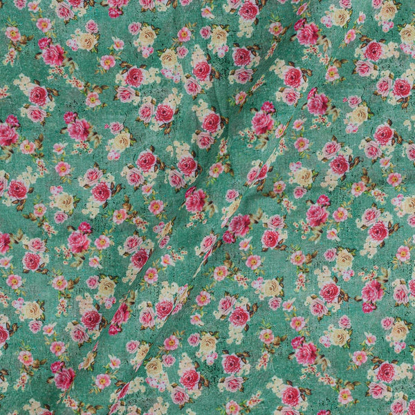 Cotton Mal [80 x 120] Shell Green Colour 43 inches Width Floral Print Fabric