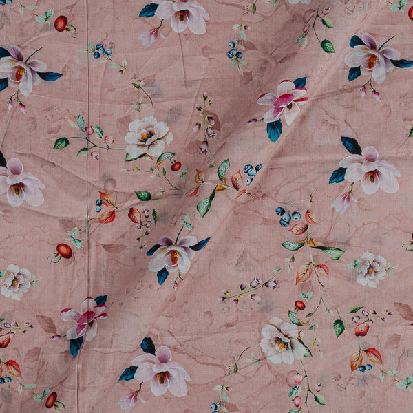 Cotton Mal [80 x 120] Pastel Peach Colour Floral Jaal Print Fabric