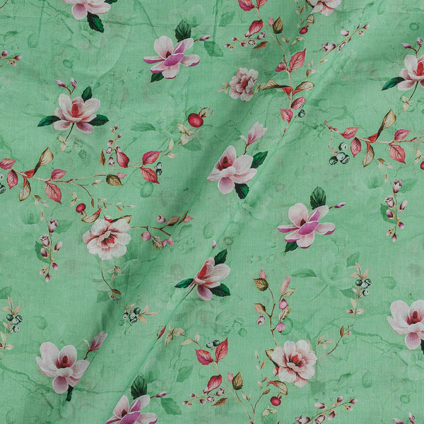 Cotton Mal [80 x 120] Pastel Green Colour Floral Jaal Print Fabric