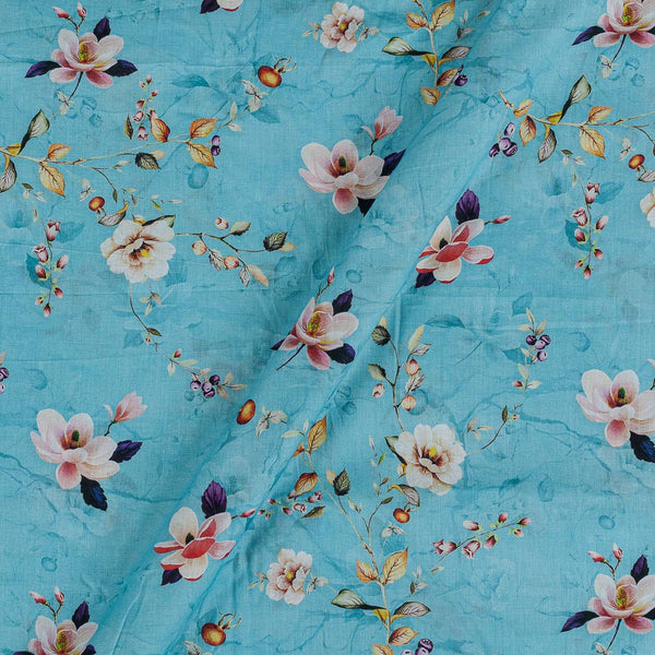 Cotton Mal [80 x 120] Cadet Blue Colour Floral Jaal Print Fabric
