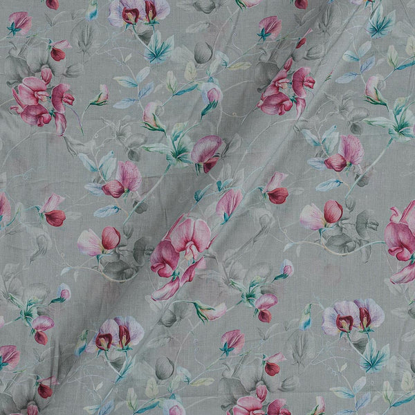 Cotton Mal [80 x 120] Ash Grey Colour Floral Jaal Print Fabric