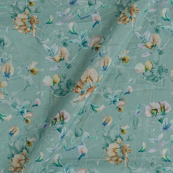 Cotton Mal [80 x 120] Cambridge Blue Colour Floral Jaal Print Fabric