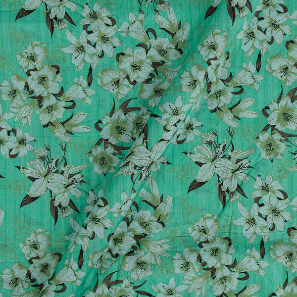 Cotton Mal [80 x 120] Pastel Green Colour Floral Print Fabric