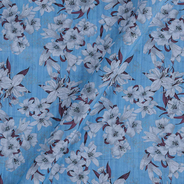 Cotton Mal [80 x 120] Light Blue Colour Floral Print Fabric