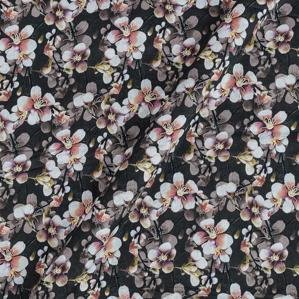 Cotton Mal [80 x 120] Carbon Colour Floral Print Fabric
