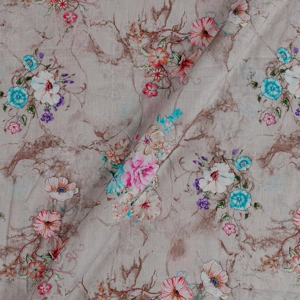 Cotton Mal [80 x 120] Desert Sand Colour Floral Print Fabric