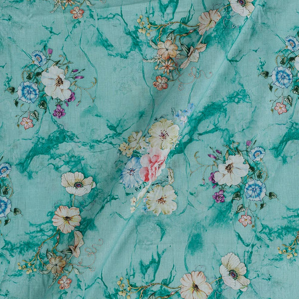 Cotton Mal [80 x 120] Pastel Mint Colour Floral Print Fabric