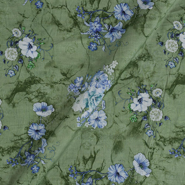Cotton Mal [80 x 120] Laurel Green Colour Floral Print Fabric