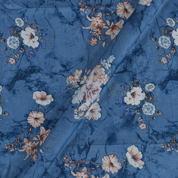 Cotton Mal [80 x 120] Steel Blue Colour Floral Print Fabric