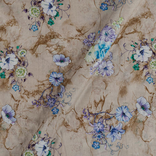 Cotton Mal [80 x 120] Beige Colour Floral Print Fabric