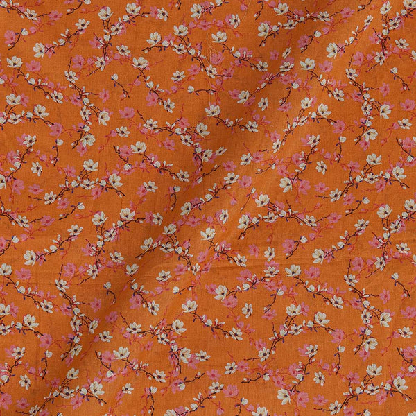 Cotton Mal [80 x 120] Peach Orange Colour Floral Jaal Print 43 Inches Width Fabric