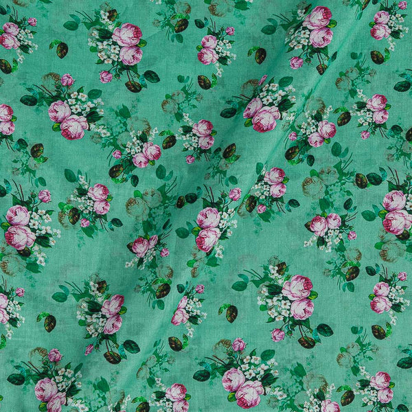 Cotton Mal [80 x 120] Mint Green Colour Floral Print 43 Inches Width Fabric