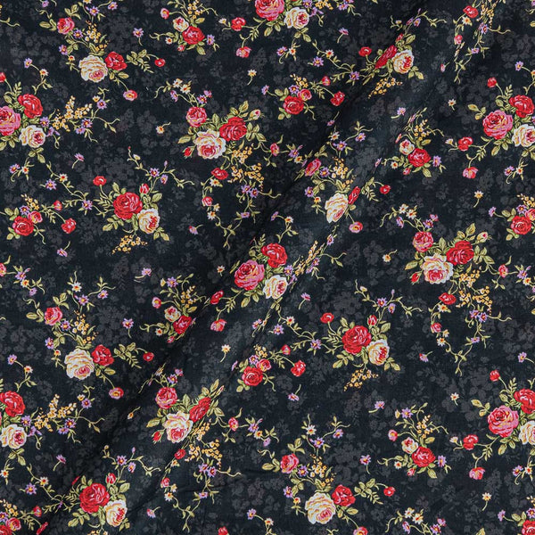 Cotton Mal [80 x 120] Carbon Black Colour Floral Jaal Print 42 Inches Width Fabric