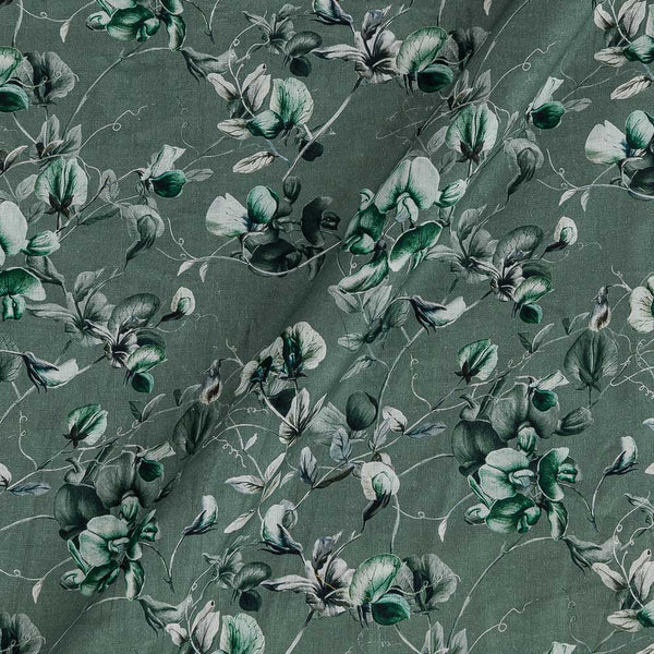 Cotton Mal [80 x 120] Shale Green Colour Floral Jaal Print 43 Inches Width Fabric