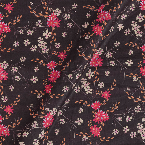 Cotton Mal [80 x 120] Wine Colour Floral Jaal Print 43 Inches Width Fabric