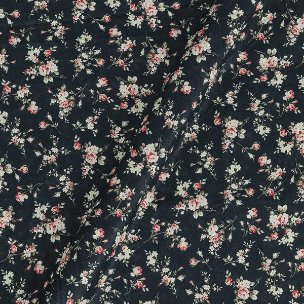 Cotton Mal [80 x 120] Black Colour Floral Print 43 Inches Width Fabric