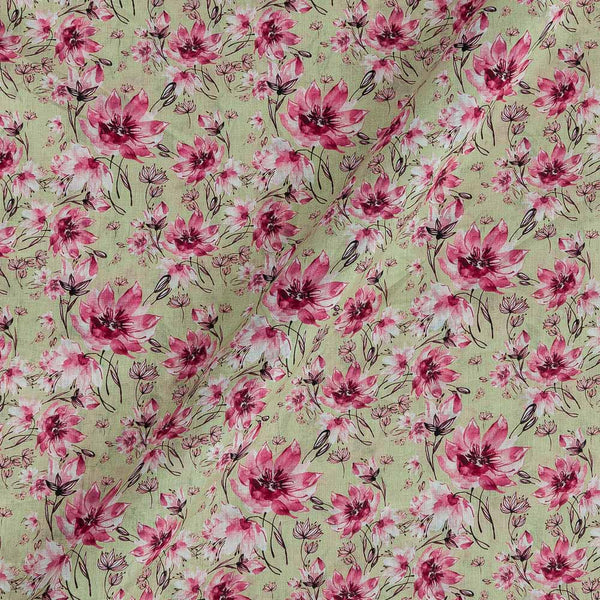 Cotton Mal [80 x 120] Pale Green Colour Floral Print 43 Inches Width Fabric