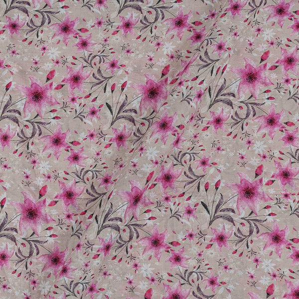 Cotton Mal [80 x 120] Beige Colour Floral Print 43 Inches Width Fabric