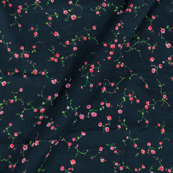Cotton Mal [80 x 120] Black Colour 43 Inches Width Floral Print Fabric